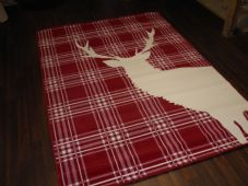 Rugs Approx 8x5 160x230cm Woven Backed stag Great Quality Reds/Creams Checked